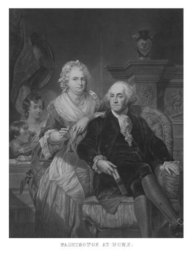 Vintage American History print of President George Washington, Martha Washington, and their grandchildren. It reads, Washington At Home. Poster Print