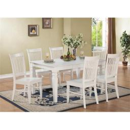 East West Furniture WEST5-WHI-W 5PC Weston Rectangular Dining Table and 4 Wood Seat Chairs