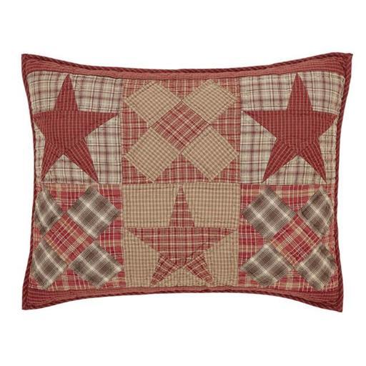 VHC Brands 29406 21 x 27 in. Dawson Star Standard Sham - Khaki, Burgundy & Woodland Brown