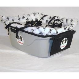 FidoRido Products FRG2WB-SL Gray Two-Seater with Fleece in White with Black Paw Prints and A Small Harness and A Large Harness