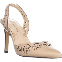 Adrienne Vittadini Nika Perforated Pointed Toe Heels, Cream