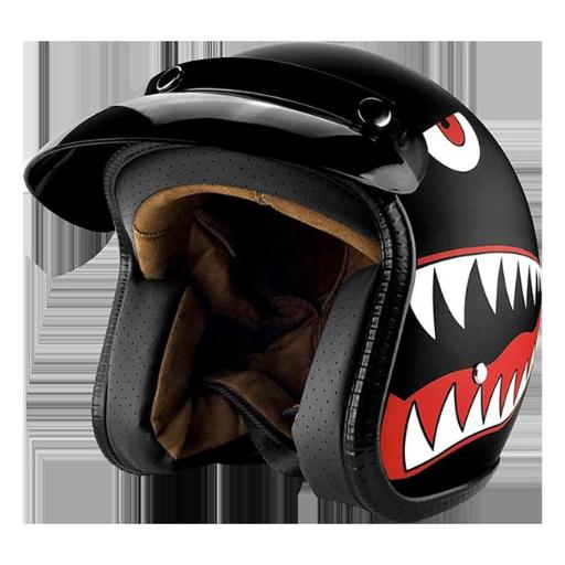 RS Helmets RS-8658-Shark-Xlarge 3 by 4 Open Face Motorcycle Helmet with Visor Matte Finish Black Shark - Extra Large C5F7182A31CD8815