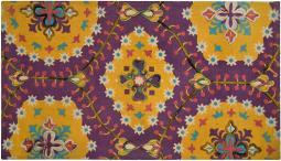 Spura Home 45 X 27 in. Purple Matrix Design Printed Embroidered Rug