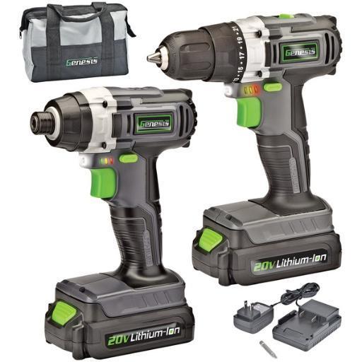 Genesis(tm) gl20didka2 20-volt cordless li-ion 2-speed drill/impact driver combo kit