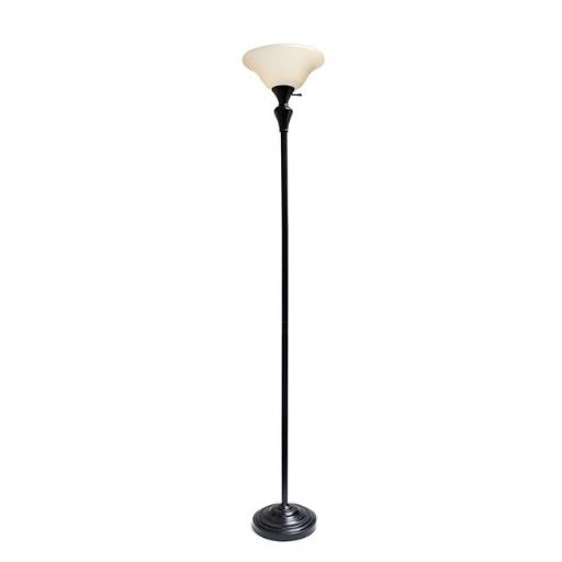 Elegant Designs LF2008-RBZ 1 Light Torchiere Floor Lamp with Frosted Plastic Shade, Restoration Bronze
