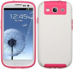 LUXMO PINK WHITE FUSION CANDY SKIN TPU CASE COVER FOR SAMSUNG GALAXY-S 3 III