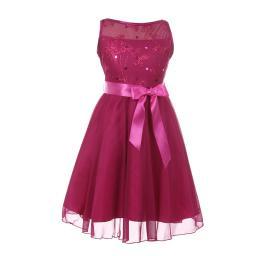 fe0ceb877 Cinderella Couture Little Girls Fuchsia Glitter Sequin Flower Girl Dress 4-6