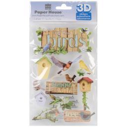 "Paper House 3D Stickers 4.5""x8.5""-Birds STDM144E"