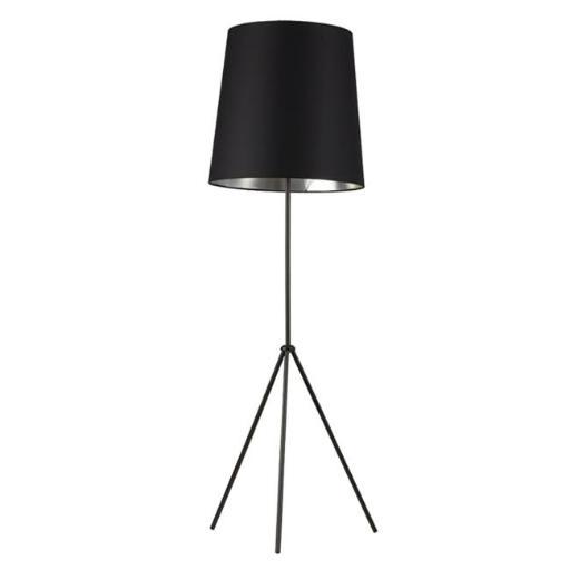 1 Light 3 Leg Oversize Drum Floor Lamp with Matte Black & Silver Shade
