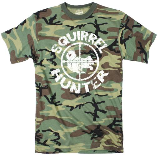 Youth Camo Squirrel Hunter Tshirt Funny Animal Hunting Tee