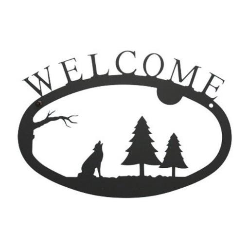 Village Wrought Iron WEL-145-S Small Welcome Sign-Plaque - Timberwolf