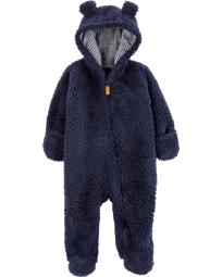 Carter's Baby Boys' Sherpa Pram Jumpsuit, Blue, 6 Months