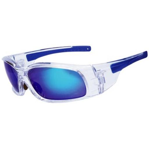 Safety Works Llc SWX00211 Mirror Crystal Clear Translucent Framed Safety Glasses, Blue Diamond