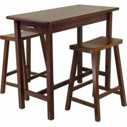 Winsome 94344 Three Piece Kitchen Island Set with Saddle Stools