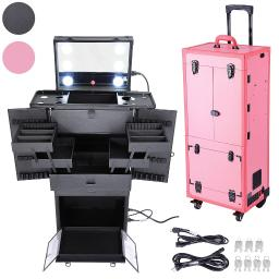 AW Pink Rolling Makeup Case Pro Hair Stylist Barber Artists Case Multifunction Lighted Lockable