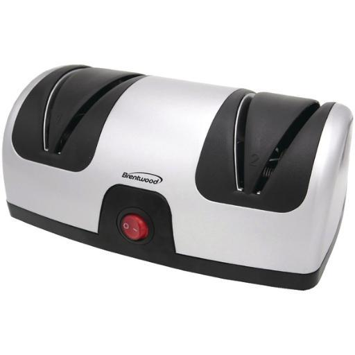 Brentwood ts-1001 electric knife sharpener • Built-in guides for sports or kitchen knives.• 2-stage sharpening for professional results.• Secure antislip feet.• Retractable cord for convenient storage.• 45W.• Black/Silver.Electric Knife Sharpener