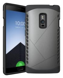 GRAY TOUGH SLIM ARMOR SHIELD TPU RUBBER SKIN HARD CASE COVER FOR ONEPLUS TWO 2