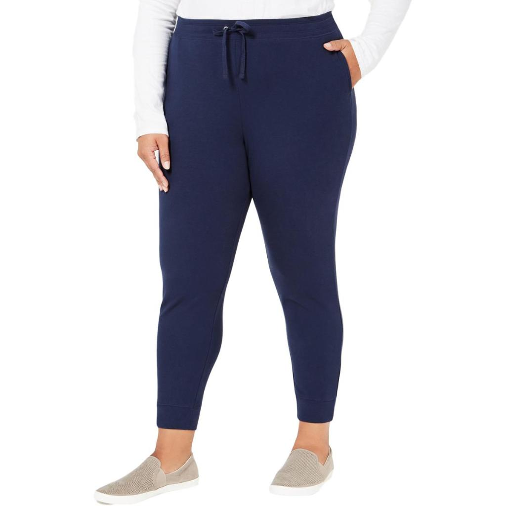 New Karen Scott Women/'s Plus Size 2X Deep Black Cotton Capri Pants