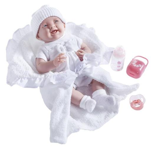 La Newborn 18786 Soft Body Baby Doll Bunting & Accessories, White