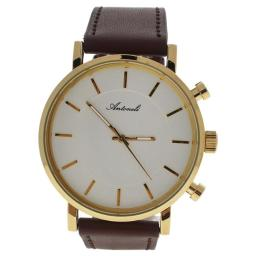 Antoneli U-WAT-1010 Gold & Brown Leather Strap Watch for Unisex, AG6182-03