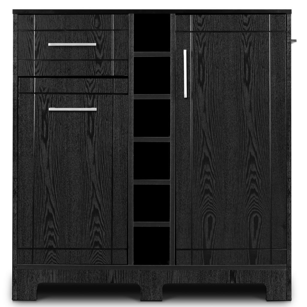 BELLEZE Wine Rack Buffet Server Cabinet with Drawer, Black