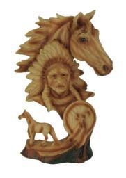 Western Horse and Native American Chief Carved Wood Look Bust Statue PDJ-971