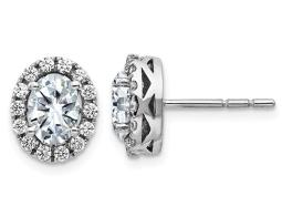 2.10 Carat (ctw) Synthetic Moissanite Solitaire Halo Earrings in 14K White Gold (2.20 Carat Diamond Look)