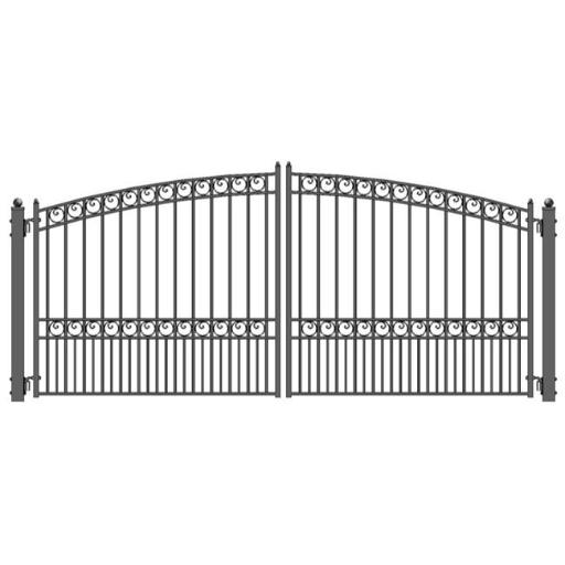 Aleko DG14PARD-UNB 14 ft. Paris Style Iron Wrought Dual Swing Driveway Gate