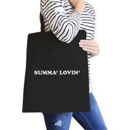 Summa' Lovin' Black Summer Vibes Stylish Canvas Tote Bag Washable