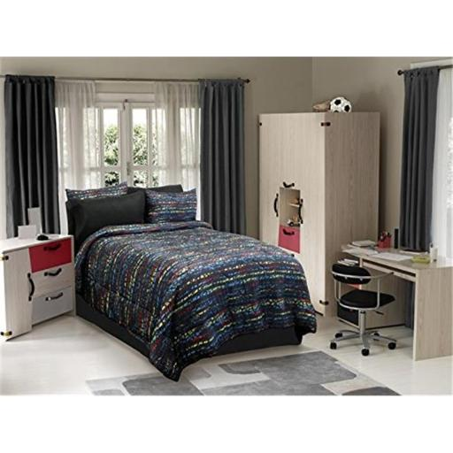 Veratex VX736425630330 Urban Kid Comforter Set, Black Multi - Full