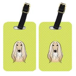 Carolines Treasures BB1306BT Pair Of Checkerboard Lime Green Afghan Hound Luggage Tags