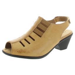 Comfortiva Womens Faye Leather Peep Toe Slingback Sandals