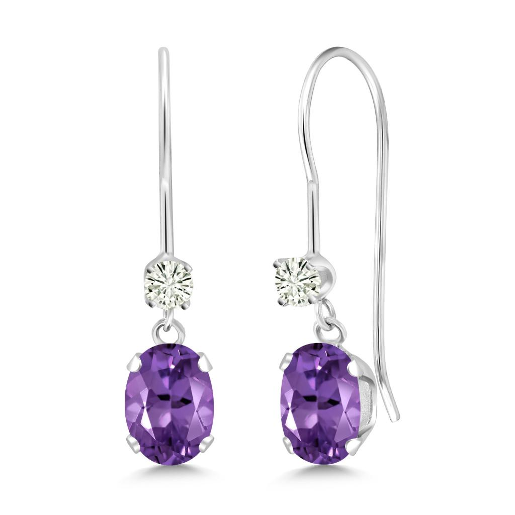 14K White Gold Dangle Earrings Oval Purple Amethyst and Forever Classic Created Moissanite 0.12ct (DEW) by Charles & Colvard