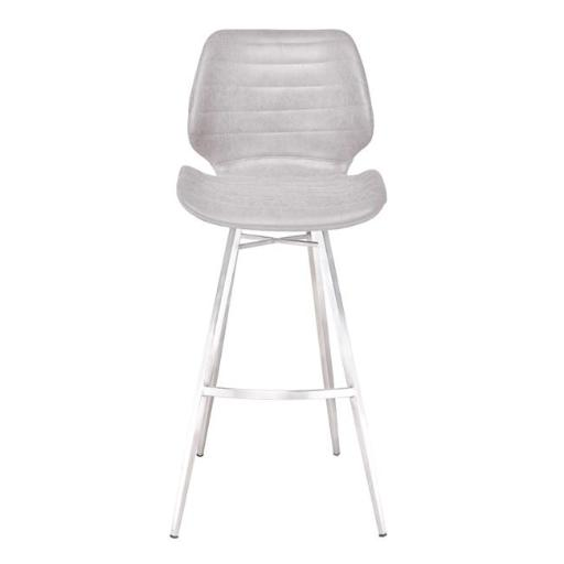 Armen Living LCVRBAVGBS30 34-44 x 17 x 15 in. 30 in. Valor Bar Height Barstool, Brushed Stainless Steel with Light Vintage Grey Faux Leather