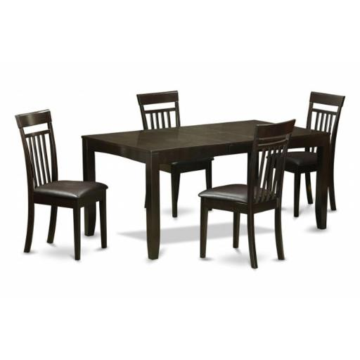 East West Furniture LYCA5-CAP-LC 5 Piece Dining Room Set For 4-Table With Leaf and 4 Dining Chairs