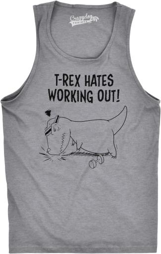 Mens T-Rex Hates Working Out Tank Top Funny Push Ups Gym Fitness Shirt For Guys