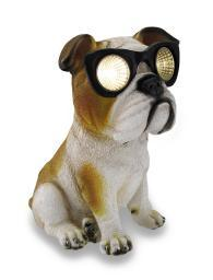 Bulldog `Solar Eyes` Solar LED Accent Light Sculpture