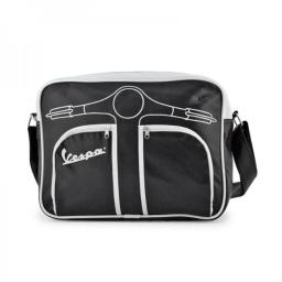 Vespa VPSB56 Horizontal Shoulder Bag - Black - 9.8 x 4.3 x 13.8 in.