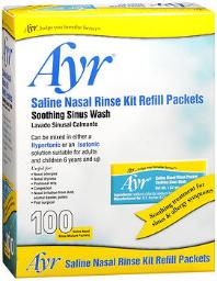 Ayr Saline Nasal Rinse Kit Refill Packets - 100 Ct, Pack Of 4