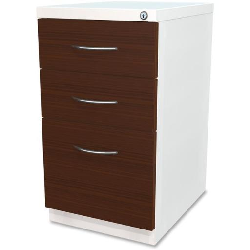 Lorell LLR34421 File Laminate Wood Mobile Pedestal - White
