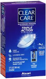 Clear Care Contact Lens Cleaning Disinfecting Solution Travel Pack - 3oz, Pack Of 4