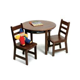 Lipper 524wn rnd table chair set walnut