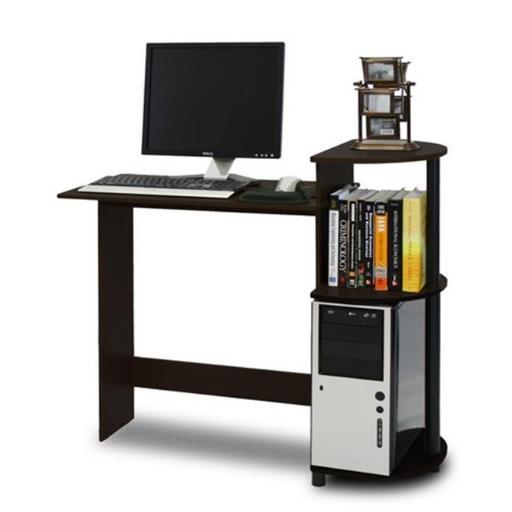 Furinno Compact Computer Desk, Espresso & Black - 33.6 x 39 x 15.6 in.
