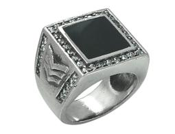 David Sigal Mens Military Ring with Black Enamel and Synthetic Crystals in Stainless Steel