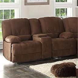 AC Pacific KEVIN-II-BROWN-CRL Kevin Brown Reclining Living Room Love Seat with Console - 39 x 73 x 36 in.
