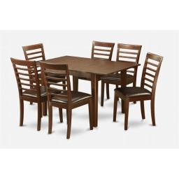 East West Furniture PSML7-MAH-LC 7 Pc Dining Table 32x60in With 6 Ladder Back Faux Leather Seat Chairs