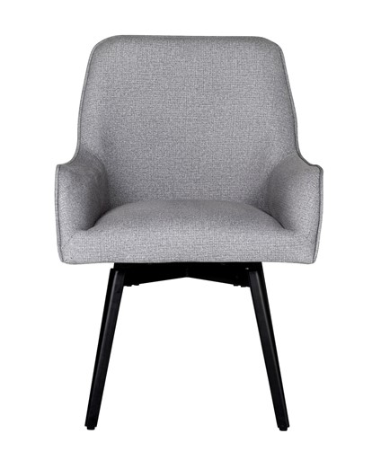 Studio Designs Home Spire Luxe Swivel Dining / Office Chair with Arms and Metal Legs in Heather Gray