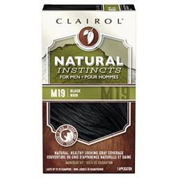 Clairol Natural Instincts Semi-Permanent Hair Color Kit For Men, 3 Pack, M19 Black Color, Ammonia Free, Long Lasting for 28 Shampoos