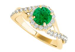 Emerald CZ Criss Cross Design Ring in 14K Yellow Gold