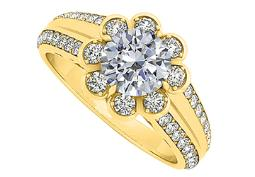 Fancy Cubic Zirconia Floral Ring in 14K Yellow Gold 1.50 CT TGW